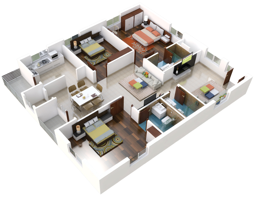 01-3BHK-East-Plan-3D