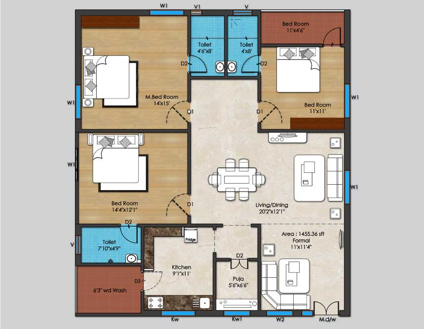01-3BHK-East-Plan