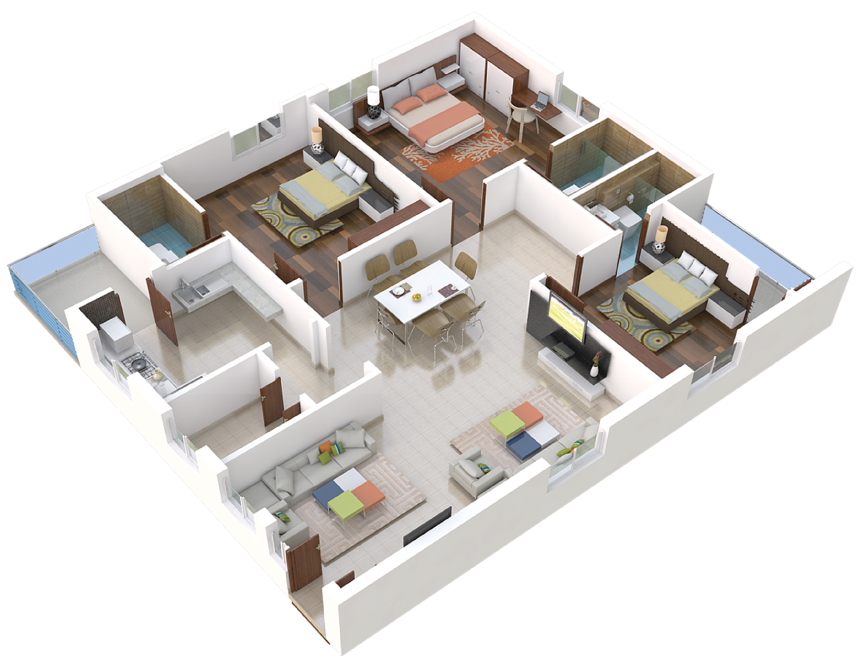 02-3BHK-West-Plan-3D