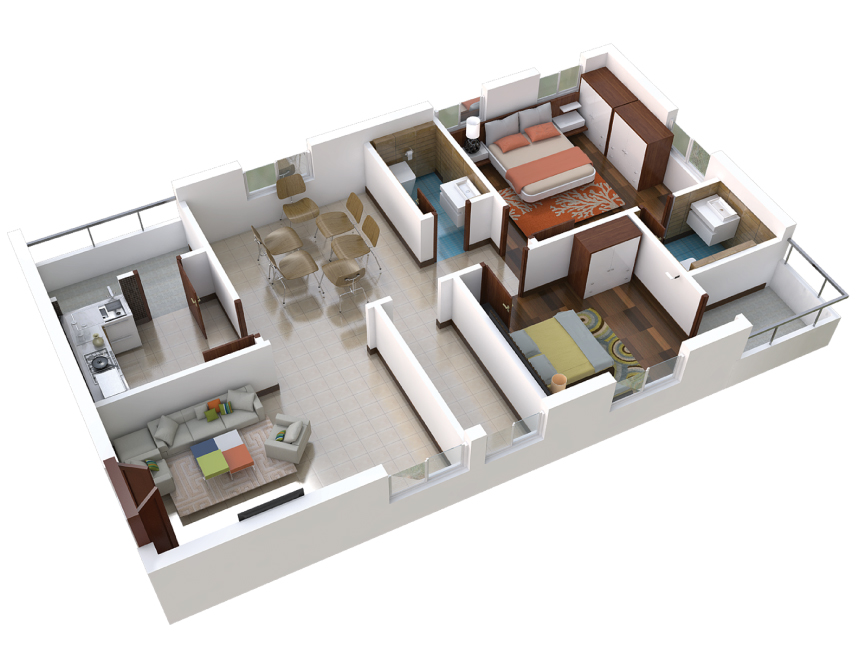 03-2BHK-East-Plan-3D