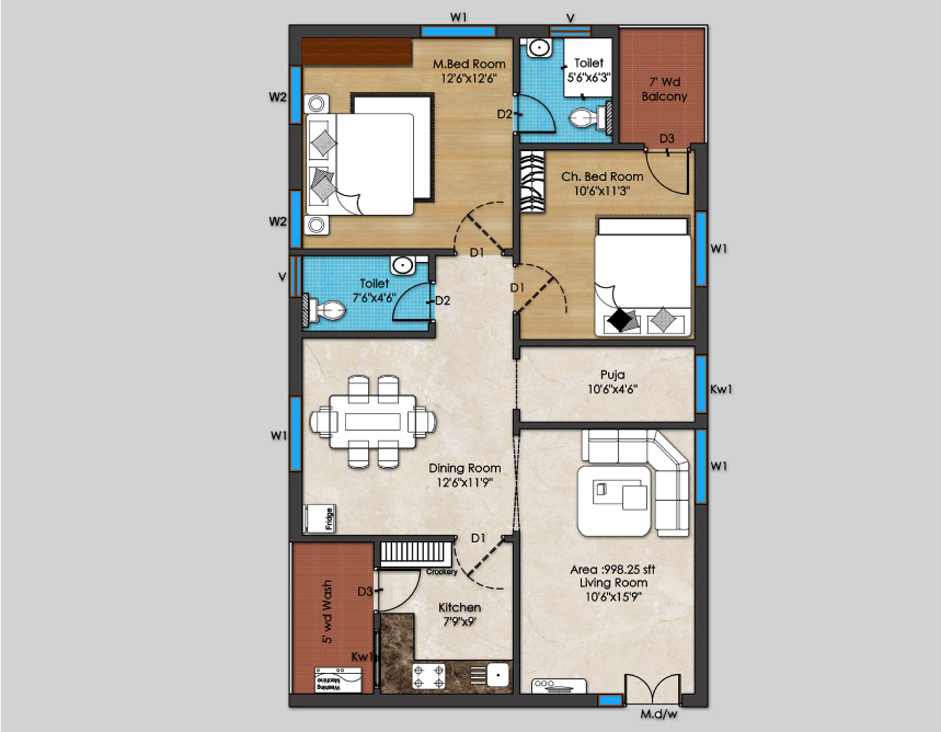 03-2BHK-East-Plan