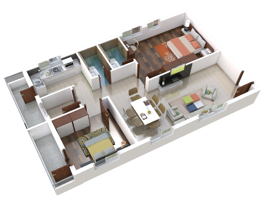 04-2BHK-West-Plan-3D