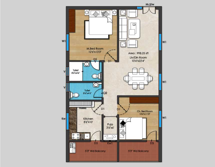 04-2BHK-West-Plan